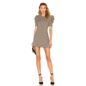 Amanda Uprichard Puff Sleeve Dress Westwick Plaid
